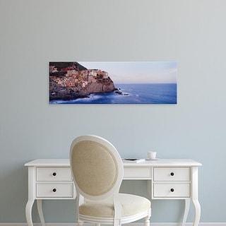 Easy Art Prints Panoramic Image 'Town on a hillside, Manarola, Riomaggiore, Cinque Terre, Liguria, Italy' Canvas Art