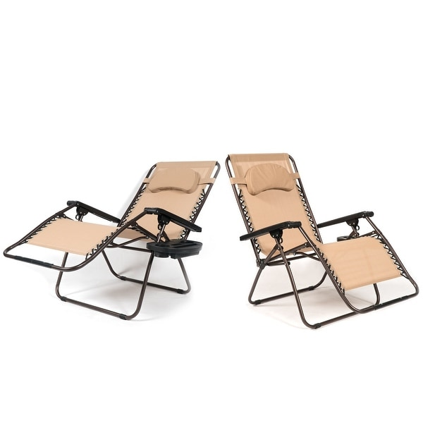 Belleze XL Oversized (2)Pack Zero Gravity Chairs Patio Lounge + Cup Holder/Utility Tray, Beige
