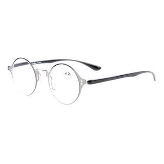 Eyekepper Lightweight Flex Round Crystal Clear Vision Reading Glasses Gunmetal+1.0