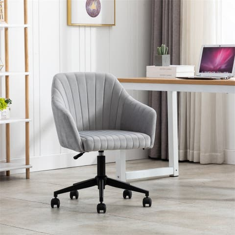 Home Office chair with Middle back, Modern Design velvet chair with arms