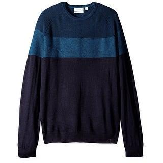 Calvin Klein NEW Blue Mens Small S Colorblock Crewneck Wool Sweater