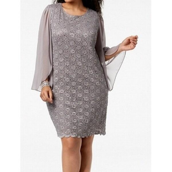 Connected Apparel Gray Women Size 22W Plus Sequin Lace Sheath Dress