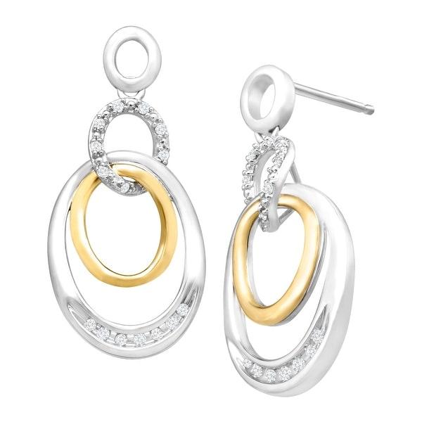 1/8 ct Diamond Drop Earrings in Sterling Silver & 14K Gold