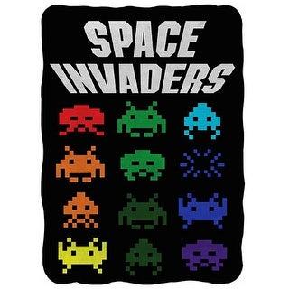 "Space Invaders Logo 45""x60"" Fleece Throw Blanket - Multi"