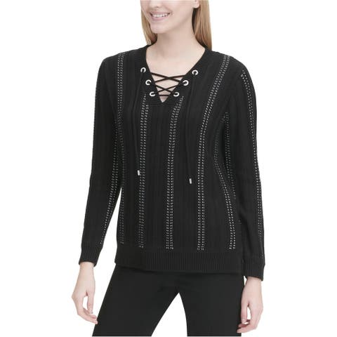 Calvin Klein Womens Lace-Up Pullover Sweater