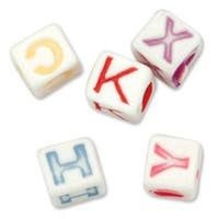 White W/Multicolor Letters - Alphabet Beads 6Mm 160/Pkg