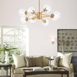 CO-Z 8-Light Modern Brass Linear Sputnik Chandelier