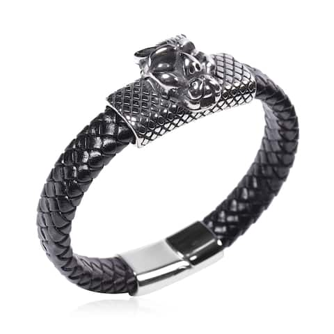 Shop LC Leather Mens Elegant Bracelet Leather Mens 8 Inches - Bracelet 8''
