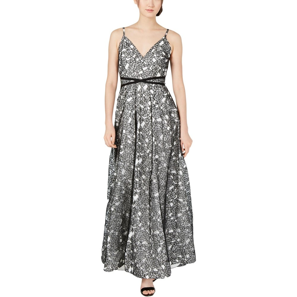 Calvin Klein Womens Floral Lace Pleated V-Neck Sleeveless Gown - Black-White