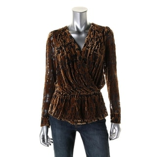 Catherine Malandrino Womens Velvet Burnout Wrap Top - 4