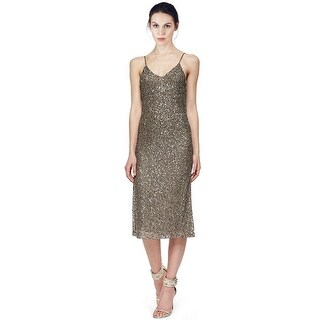 Alice & Olivia Yelena Sequined Mesh Sleeveless V-Neck Cocktail Dress