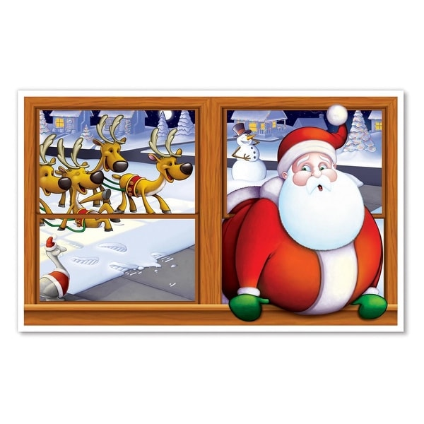"Pack of 6 Christmas Santa Claus Insta-View Holiday Wall Decoration 38"" x 62"" - RED"