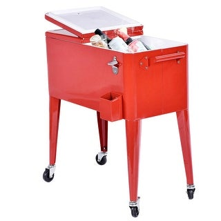 Costway Red Outdoor Patio 80 Quart Cooler Cart Ice Beer Beverage Chest