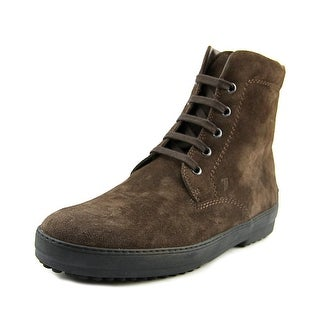 Tod's Palacco 5 Occhielli Rest. Double T Youth Round Toe Suede Brown Boot