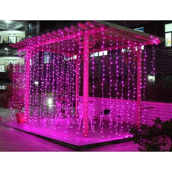 AGPtek 300 LED Outdoor Fairy Curtains String light for Xmas Wedding Party Pink