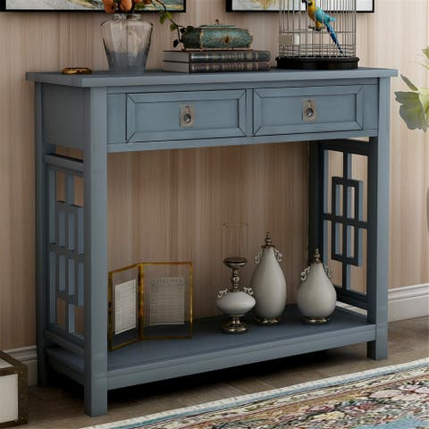 Console Table with 2 Drawers and Bottom Shelf(Antique Navy)