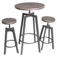 Zenvida 3 Piece Round Pub Table and Stool Set Wood Top Metal Bar Bistro