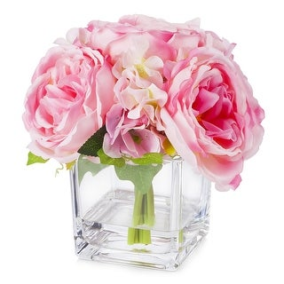 Link to Enova Home Mixed Silk Peony and Hydrangea Flower in Cube Glass Vase With Faux Water For Home Decoration Similar Items in Decorative Accessories