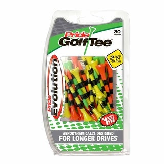 "Pride Evolution Striped Plastic 2-3/4"" Pack of 30 Golf Tees - Fruit Mix"