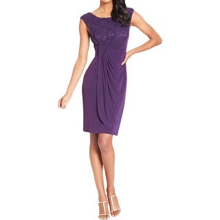 Connected Apparel Womens Petites Cocktail Dress Matte Jersey Sequined