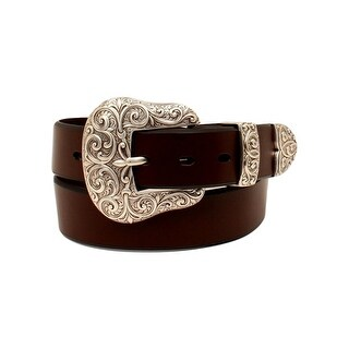 Ariat Western Belt Womens Leather Scroll 3 Piece Buckle Brown A1523202