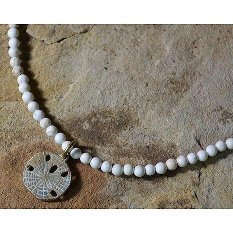 White Patina Brass Sand Dollar Necklace