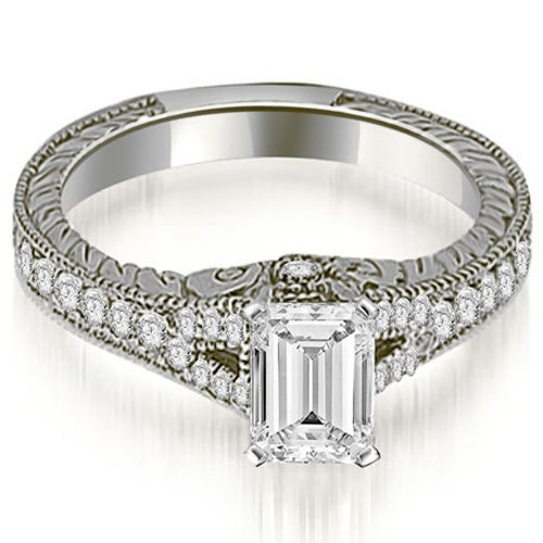 1.25 cttw. 14K White Gold Antique Emerald Cut Diamond Engagement Ring