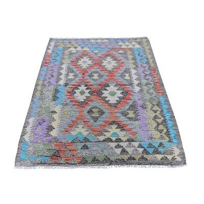 "Shahbanu Rugs Colorful Organic Wool Reversible Flat Weave Afghan Kilim Hand Woven Oriental Rug (3'4"" x 5'2"") - 3'4"" x 5'2"""