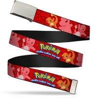 Blank Chrome  Buckle Pokemon Charmander Poses Flames Red Webbing Web Belt - S