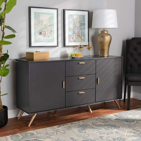 Kelson Modern Dark Grey and Gold Finished Wood 2-Door Sideboard Buffet