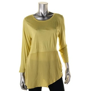 Two by Vince Camuto Womens Mixed Media 3/4 Sleeves Pullover Top