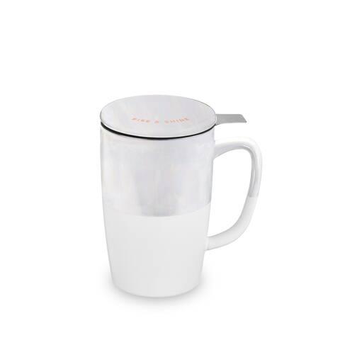 "Delia Rise & Shine Tea Mug & Infuser Pinky Up - 5.5"" x 5"""