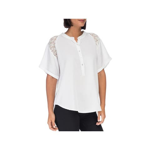 Bobeau Womens Blouse Lace Short Sleeves