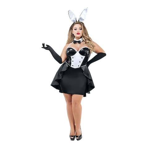 Plus Size Evening Affair Bunny Costume - Black/White
