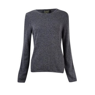 Charter Club Women's Cashmere Crew Neck Long Sleeve Sweater - heather cinder - pm