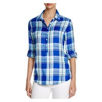 Allen Schwartz Womens Casual Top Plaid Button Down
