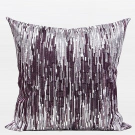 "G Home Collection Luxury Purple Nonobjective Embroidered Pillow 20""X20"""
