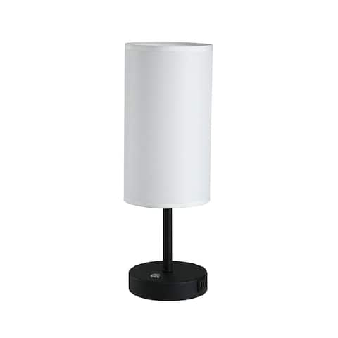 Cedar Hill 17 in.Table Lamp with USB Port and round fabric shade