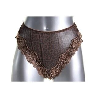 Lunaire Womens Lace-Trim Animal Print Tanga Panty - XL