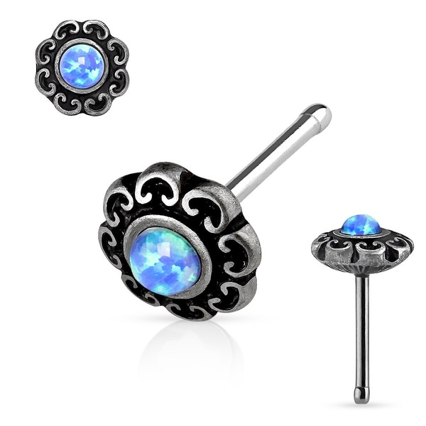 Opal Center Tribal Heart Filigree Antique Silver IP Surgical Steel Nose Stud Ring - 20GA (Sold Ind.)