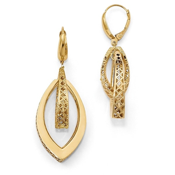 Italian 14k Gold Polished and Textured Dangle Leverback Earrings