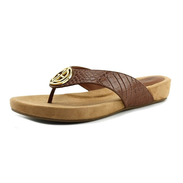 Giani Bernini Racchel Women Open Toe Synthetic Tan Thong Sandal