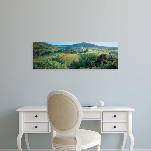 Easy Art Prints Panoramic Image 'High angle view of a church, Abbazia Di Sant Antimo, Tuscany, Italy' Canvas Art
