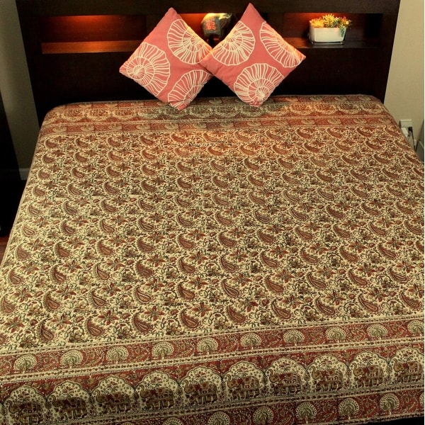 Hand Block Print Floral Tapestry Paisley Elephant Cotton Spread Red Black Twin