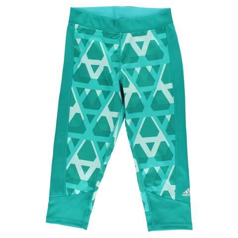 253b8efce757 Adidas Womens Techfit Capri Print Running Tight Green - green gray