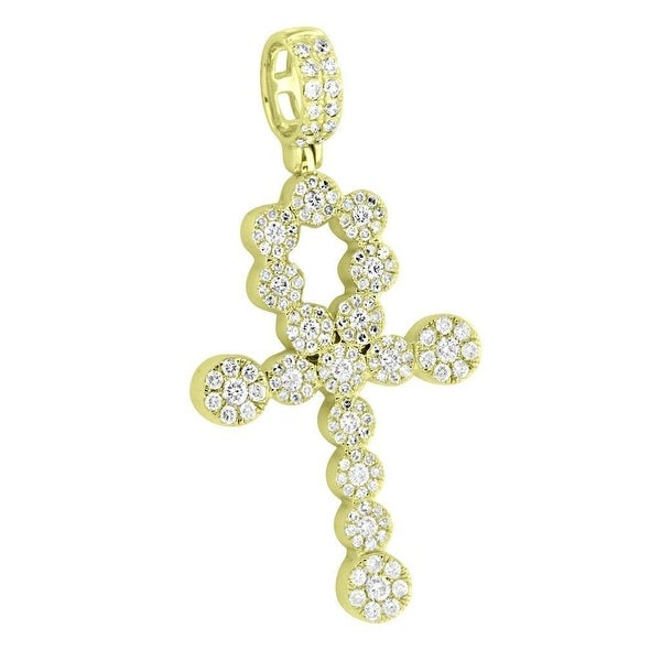 Cluster Set Real Diamond Ankh Cross Pendant 14k Yellow Gold 2.00 Carat High End