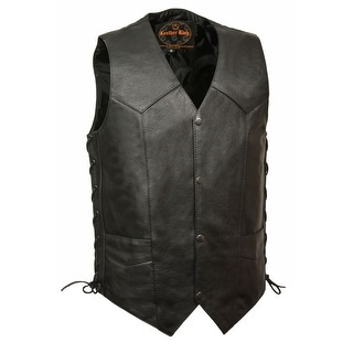 Mens Classic Side Lace Leather Vest With Gun Pockets