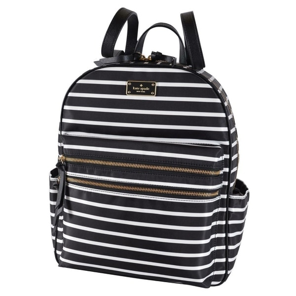 22e220b84 Kate Spade Black Wilson Road Bradley LARGE French Stripe Backpack Bag -  14.5
