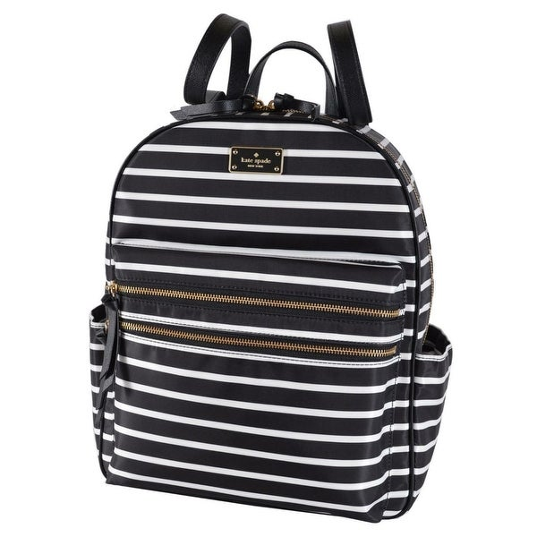 "Kate Spade Black Wilson Road Bradley LARGE French Stripe Backpack Bag - 14.5""h x 11.6""w x 4.9""d"
