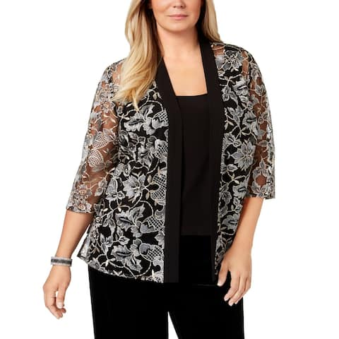 Alex Evenings Women's Black 3X Plus Floral Embroidered Twinset Sweater